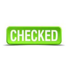 checked green 3d realistic square isolated button vector image
