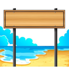 An empty wooden signboard at the beach vector image