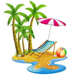 Beach scene with chair and umbrella vector