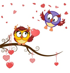 card funny owls declaration of love vector image vector image