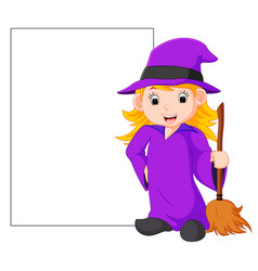 cartoon witch holding broomstick vector image vector image