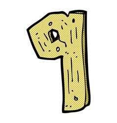 Comic cartoon wooden number vector