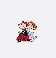 Couple of newlyweds riding a red motorcycle vector