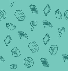 Delivery flat outline isometric pattern vector