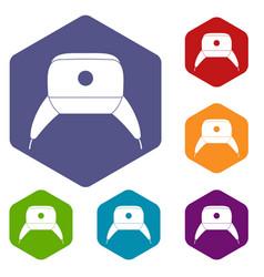 Earflap hat icons set hexagon vector