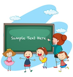 Frame template with teacher and students vector