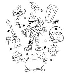 Halloween mummy doodle art vector