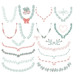 Hand-Drawn Floral Wreaths Laurels vector image