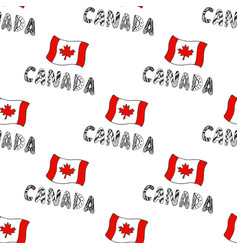 Hand drawn seamless pattern with canada flag and vector