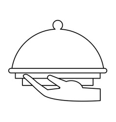 Hand tray catering service thin line vector
