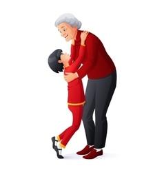 Happy smiling grandmother hugging granddaughter vector