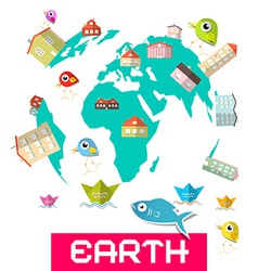 Houses - fish and birds on globe - earth vector