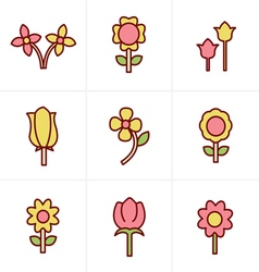 Icons Style Flower icon set vector image