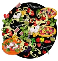 Italian cuisine top view frame food menu design vector