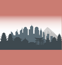 japan silhouette architecture buildings town city vector image vector image
