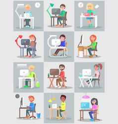 Man and woman work in office at computer set vector