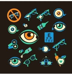Ophthalmologist set of icons vector