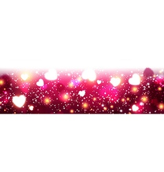 Pink luminous banner with hearts vector