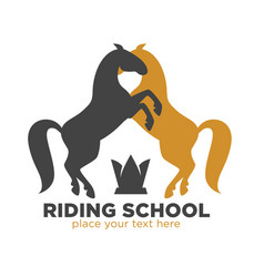 riding school logotype with black and brown horses vector image vector image