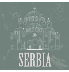 Serbia landmarks retro styled image vector