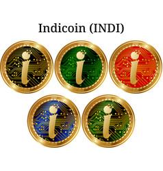 Set of physical golden coin indicoin indi vector