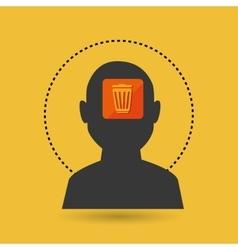 silhouette trash bin icon vector image