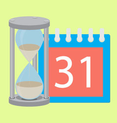 Time planning deadline hourglass and calendar vector