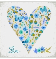 watercolor floral heart and vector image vector image