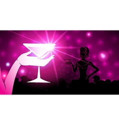 woman holding a cocktail A sparkling background vector image vector image