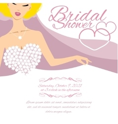 Invitation card with bride and place for text vector