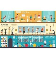 Physical run ride get in shape flat interior vector