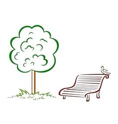 Bird park bench green tree vector image