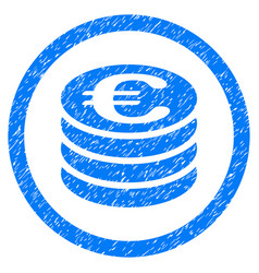 Euro coin column rounded icon rubber stamp vector