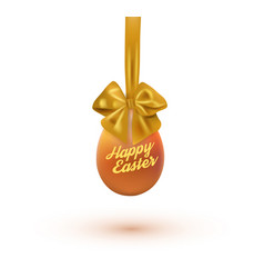 Happy easter card with eggs and bow vector