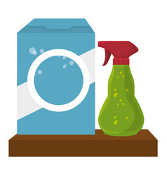 Shelf with laundry products in plastic bottles vector