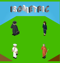 Isometric person set of cleaner detective vector