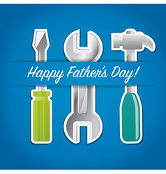 Paper cut out happy fathers day tool card in vector