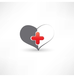 Grey heart and medical cross vector