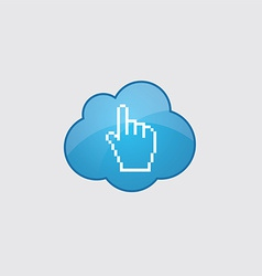 Blue cloud pointer pixel cursor icon vector