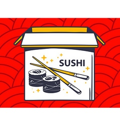 Open box with icon of sushi on red patte vector