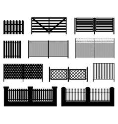 Silhouettes of fences vector
