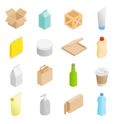 Packaging isometric 3d icons set vector