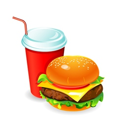hamburger and soda vector image