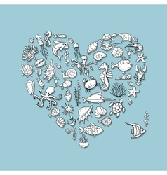 Marine life heart shape sketch for your design vector