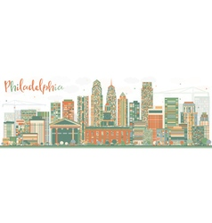 Abstract philadelphia skyline with color buildings vector
