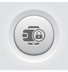 Flat digital wallet secure transaction concept vector