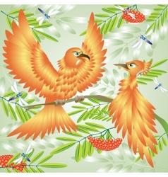 An orange bird sings about love vector