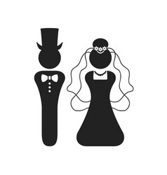 Black silhouette bride and groom wedding icons vector