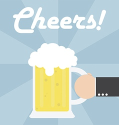 Businessman hand holding beer mug vector