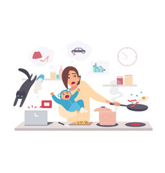 Busy mother with baby multitask woman motherhood vector
